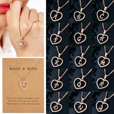 Women Rose Gold Initial Alphabet Letter A-Z Crystal Pendant Charm Card Necklace