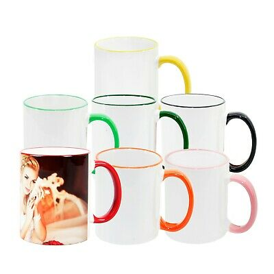 COLOUR ACCENTED SUBLIMATION MUGS with colour lip & handle - 12/24/36-pack