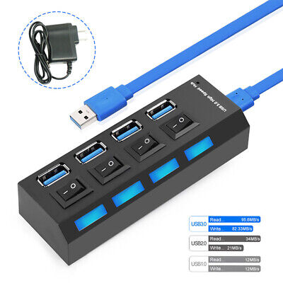 4-Port USB 3.0 Hub Cable Adapter USB Expansion Hub with AC Power Adapter AC1519