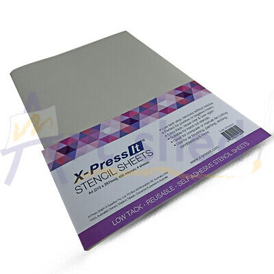 X-Press It Low Tack Self Adhesive Vinyl Stencil Sheet A4 4 Sheets