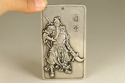 big chinese old copper hand casting guangong statue netsuke pendant