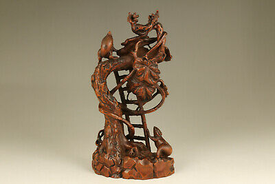 unique chinese old boxwood hand carved squirrel tree statue