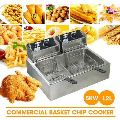 5000W Twin Basket Deep Fryer Frying Chef Electric Commercial Basket Chip Cooker