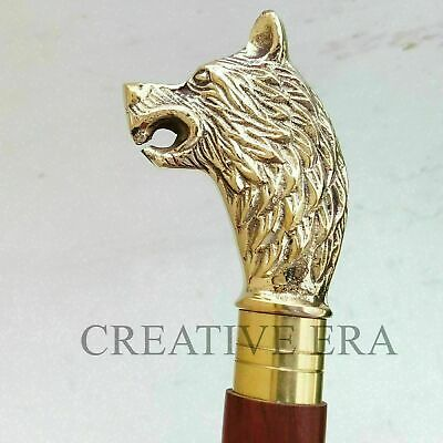 Brass WOLF HEAD Handle Victorian Style Wood Walking Brown Stick Cane Vintage