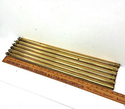 "Set of 6 Antique Brass Bed RODS 1""x26"" tubes vertical rails parts"
