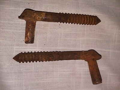 """Set of 2 VTG ANTIQUE 4-3/4"""" THREADED PINTLE PINS FOR STRAP HINGES BARN SALVAGE"""
