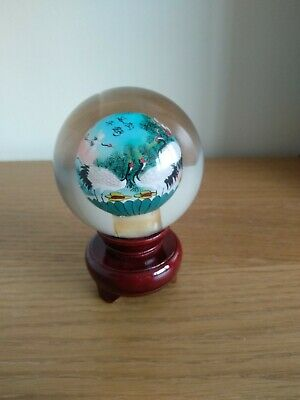 Asian/Chinese Reverse Hand Painted Cranes Glass Ball Sphere Globe with Stand new