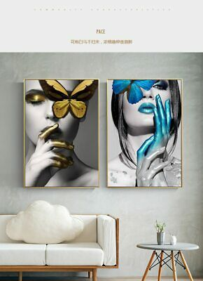 Wall Art Pictures Fashion Woman butterfly Lips Gold And White Black Modern Home