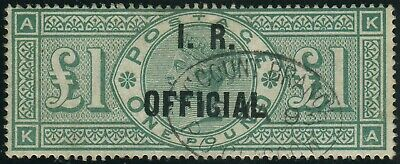 Sg O16 £1 Green OVPT I.R. OFFICIAL. Very fine used example,  Account Branch cds