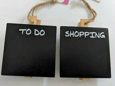 2 x Mini Hanging Memo Chalkboard with Pegs 2 Designs Shopping & To Do