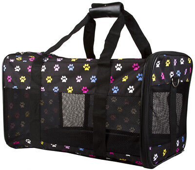 Multicolor Paw Print Pet Dog Cat Carrier - 18 inch