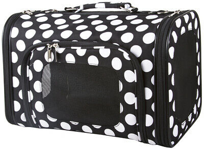 Black Polka Dot Print Pet Carrier Purse Dog Cat Handbag Tote Bag Travel 14 inch