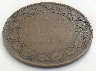 1905 Canada One 1 Cent Large Copper Penny Circulated Edward VII Coin K024