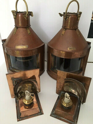 pair of OLD ships navigation lights/lamps brass and copper REWIRED