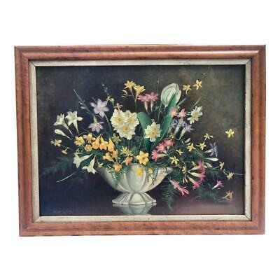 Antique Early American Oil Painting Still Life of Flowers by Owen Lunnon