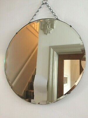 Round Vintage Antique Frameless Bevelled Mirror Foxed Misted Chain 40cm m228
