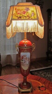VTG VICTORIAN CZECHOSLOVAKIA BOHEMIA SING PORCELAIN TABLE LAMP SHADE 1940's