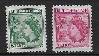 Trinidad & Tobage Qeii 1953 Sg 277A 278 $1.20 $2.80 Mnh Unmounted Mint Stamps