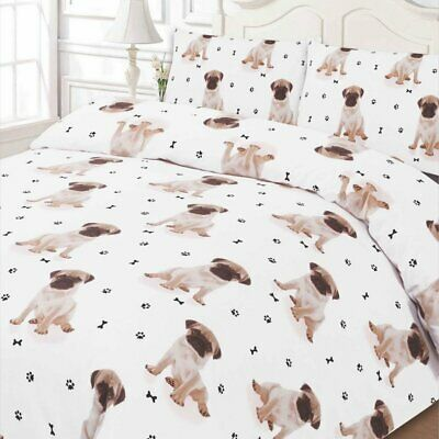 Dreamscene Pugwh02 Luxuriously Soft Animal Pug Duvet Cover Bedding Set With Pill