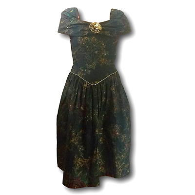 80's Vintage Girl's Amy TOO Party / Special Occasion Dress Metallic Floral SZ 14