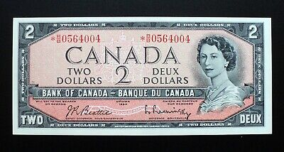 1954 BANK OF CANADA $2 Dollars Replacement Note *B/B 0564004 BC-38bA (CH.UNC)
