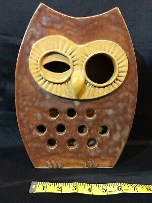 Vintage Large Ceramic Two Sided Owl Tea Light Votive Candle Holder Signed OOAK!