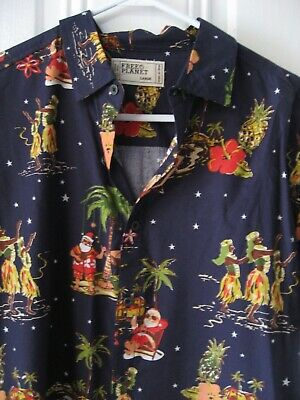 9325b1262 Free Planet Christmas Santa Hawaiian Shirt Navy SS Cotton Blend M/L Men's
