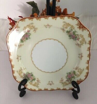Noritake China Cardinal Plate Luncheon Salad 193 Floral Gold Rim #99829 7 3/4""