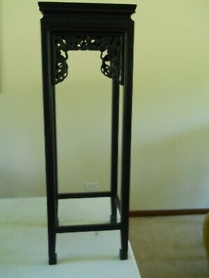 Vintage Chinese Pedestal/Plant Stand Black Lacquer with Apron  Dragon Decoration