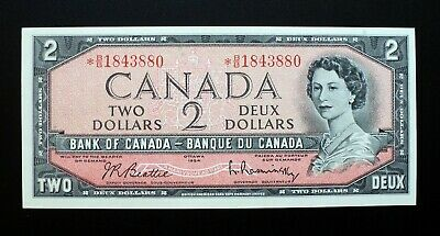 1954 BANK OF CANADA $2 Dollars Replacement Note *B/B 1843880 BC-38bA (CH.UNC)