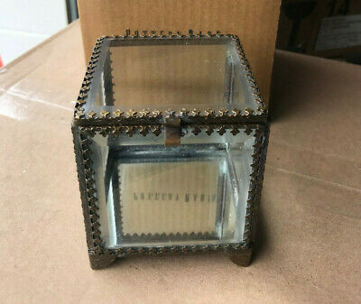 Pottery Barn Elaine Glass Jewelry Small Display Box NEW Mirrored Antique Brass
