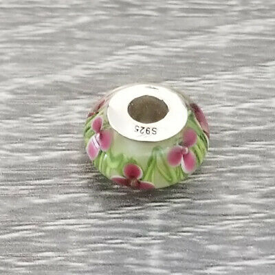 AUTHENTIC Sterling Silver SS 925 Enchanted Red Flower Green Field Murano Cha