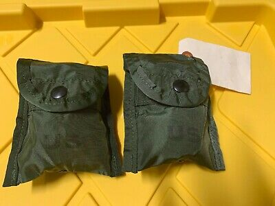 (LOT OF 2) US Military Army FIRST AID COMPASS POUCH Carrier Case w/ Alice Clip