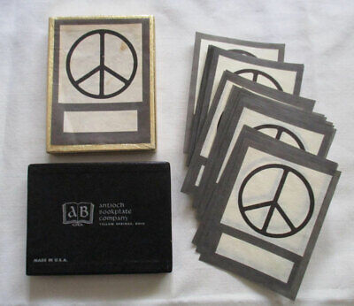 Vintage 1960s-70s Antioch Bookplates Book Plates Peace Sign Symbol