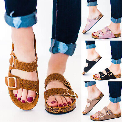 Ladies Womens Wide Fit Low Wedge Comfy Summer Holiday Sliders Sandals Shoes Size