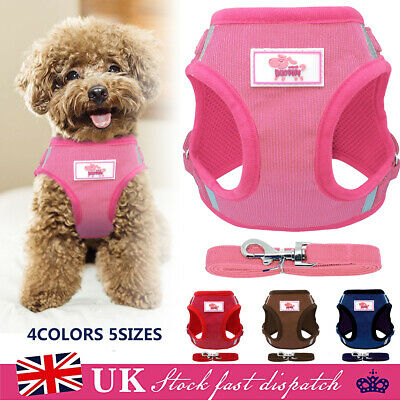 Reflective Puppy Dog Harness Breathable Mesh Pet Padded Vest Harness Leash Set