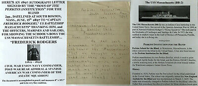 Perkins Institution Blind Spanish American War Battle Ship Admiral Letter Signed
