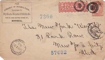 Canada 1888 Registered Illustrated CC Cover Montreal to New York 5c Rate