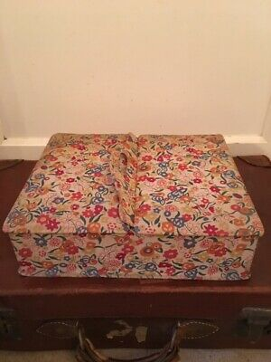 Antique floral French boudoir box / sewing box / jewelry box vintage fabric