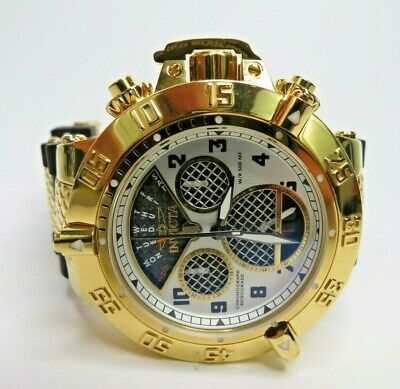 Invicta Men's Subaqua Noma III 19831 Gold Watch Black Twisted Metal Swiss Made