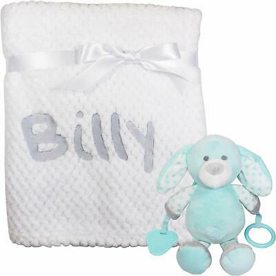 Personalised Fluffy White Baby Blanket with Puppy Toy Teether
