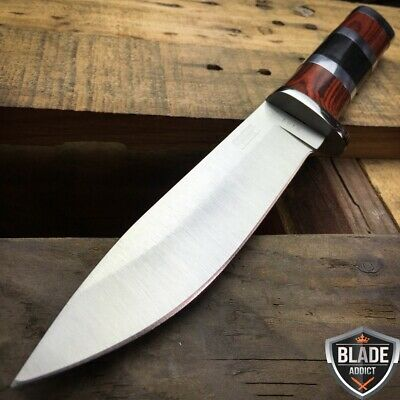 "10"" STAINLESS STEEL WOOD HANDLE HUNTING KNIFE Survival Skinning Bowie -M"