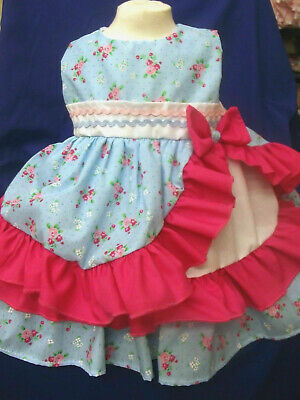 DREAM GIRLS SPANISH ROMANY SUMMER  PINK MINT FLORAL LINED DRESS 0-6  YEARS