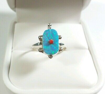 f9a95eb1fbd Zuni Walter Lalio Sterling Silver Lucky Turtle Synthetic Opal Size 8 Dainty  Ring