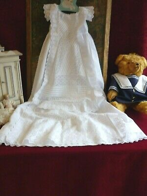 Superb Antique Baby Gown Lots Brod Ang Frills Pintucks VGC.
