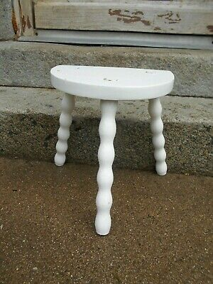 Vintage French 3 legged stool half moon oak painted shabby chic bobbin legs