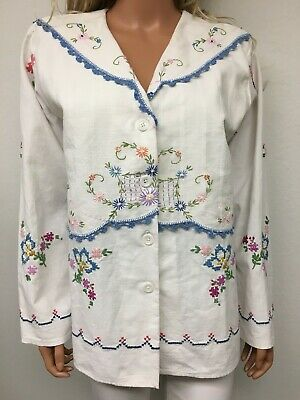 Upcycled Hand Embroidered Antique Linen Floral Cross Stitch Jacket Blazer Sz M