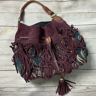 fc2c83ba0 Sam Edelman Suede Tyra Fringe Boho Hobo Bucket Bag Womens Tapestry Fabric