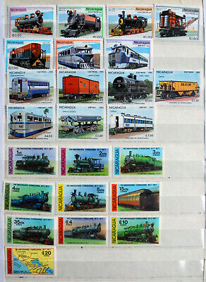 Trains, Nicaragua Sets, Railway Locomotive & Wagons, Thematic Stamps, MM.