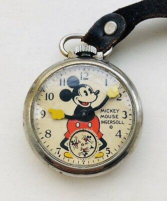 Rare Vintage & Old 1934 Ingersoll Mickey Mouse Animated Pocket Watch + Rare Fob!